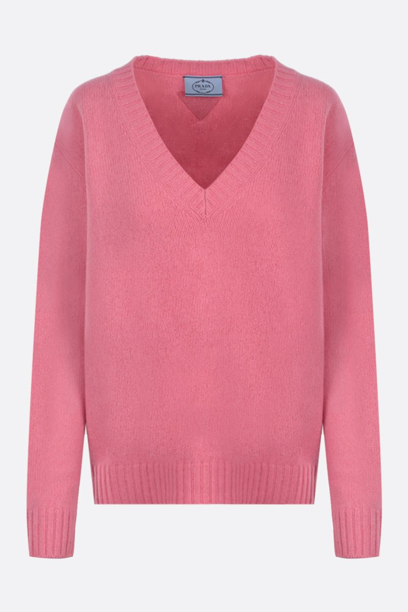 PRADA: loose-fit wool cashmere pullover Color Pink_1