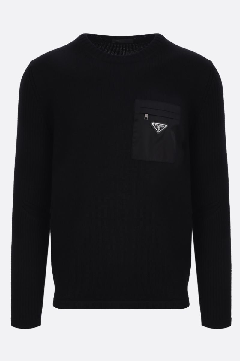 PRADA: nylon pocket-detailed wool pullover Color Black_1