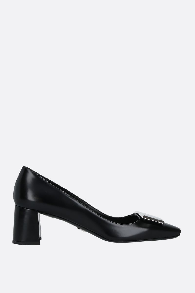 PRADA: logo-detailed brushed calf pumps Color Black_1