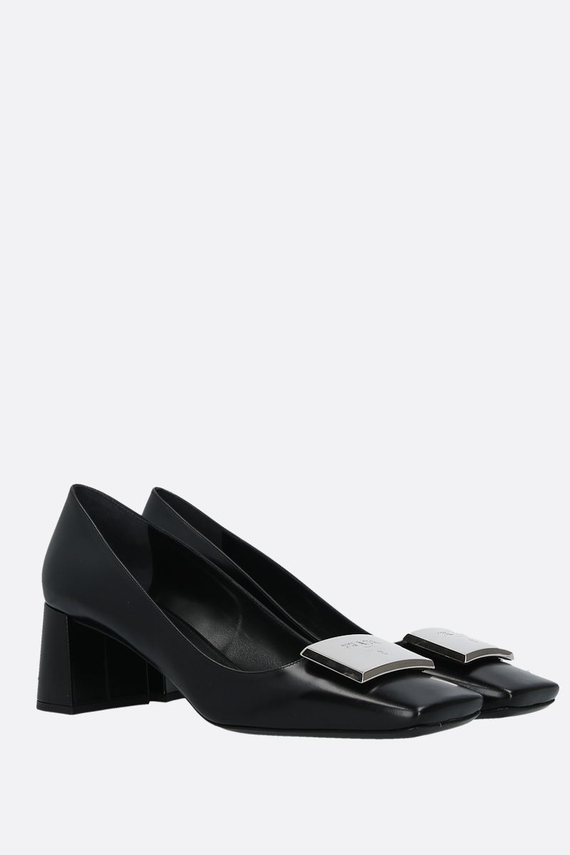 PRADA: logo-detailed brushed calf pumps Color Black_2