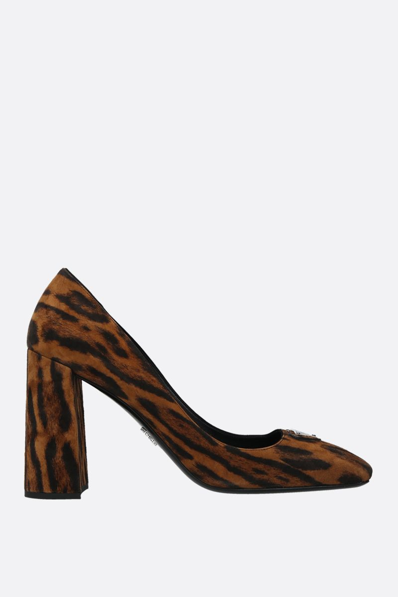PRADA: leopard suede pumps Color Yellow_1