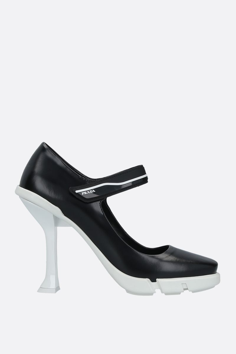PRADA: brushed leather mary-jane pumps Color Black_1