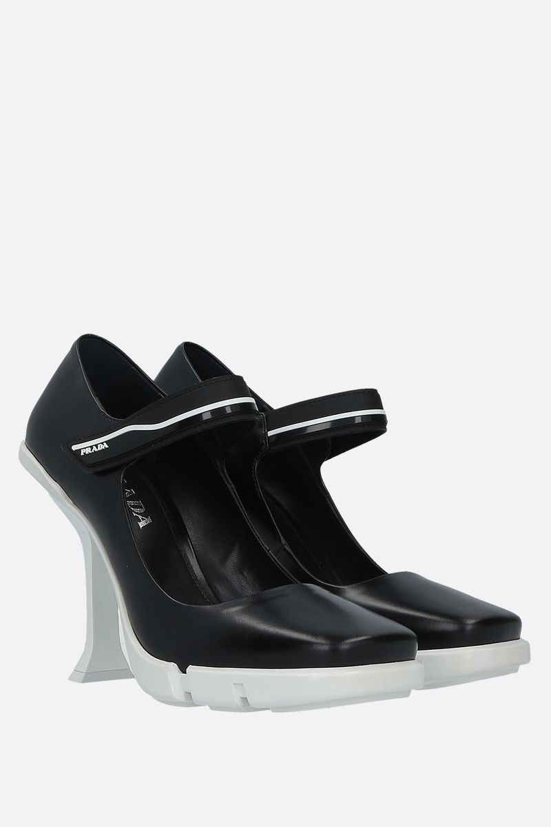 PRADA: brushed leather mary-jane pumps Color Black_2