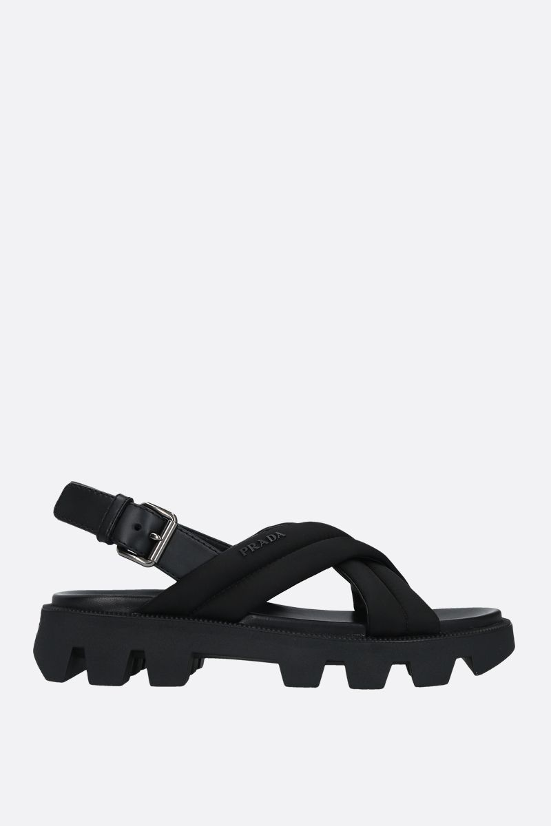 PRADA: nylon and smooth leather flatform sandals Color Black_1