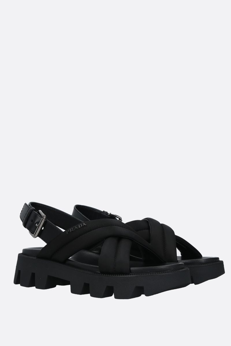 PRADA: nylon and smooth leather flatform sandals Color Black_2