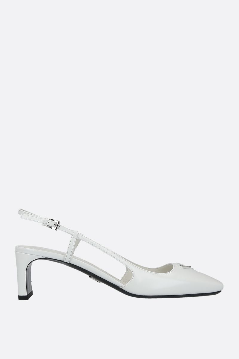 PRADA: logo-detailed brushed calf slingbacks Color White_1
