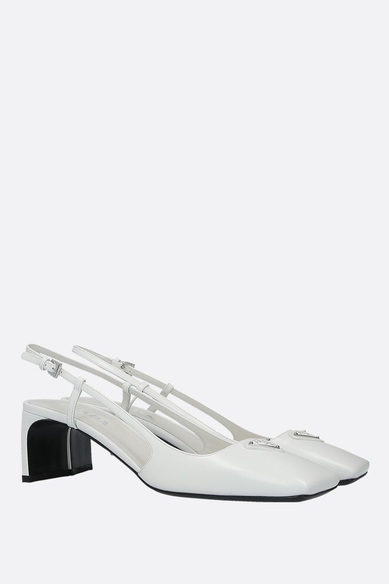 PRADA: logo-detailed brushed calf slingbacks Color White_2