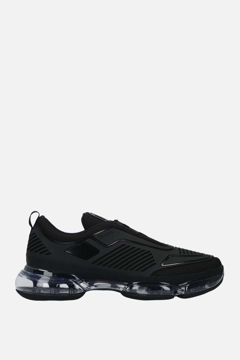 PRADA: Cloudbust tech fabric and rubber sneakers Color Black_1
