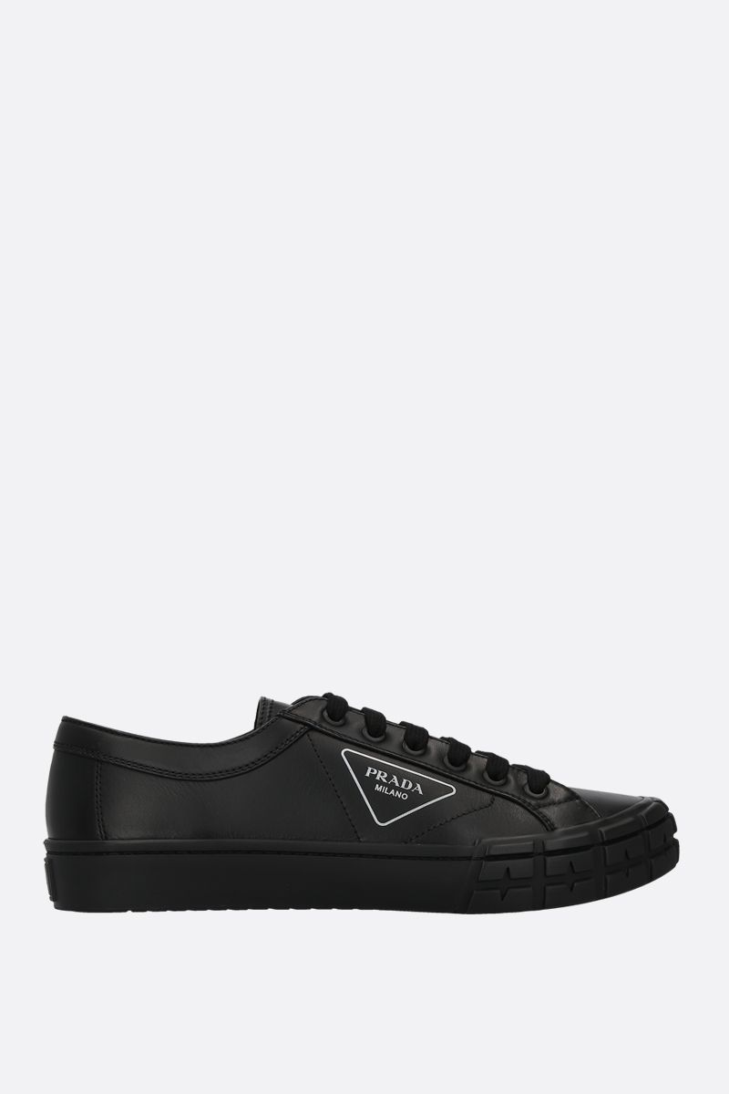 PRADA: smooth leather low-top sneakers Color Black_1