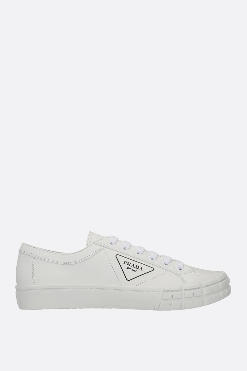 PRADA: smooth leather low-top sneakers Color White_1