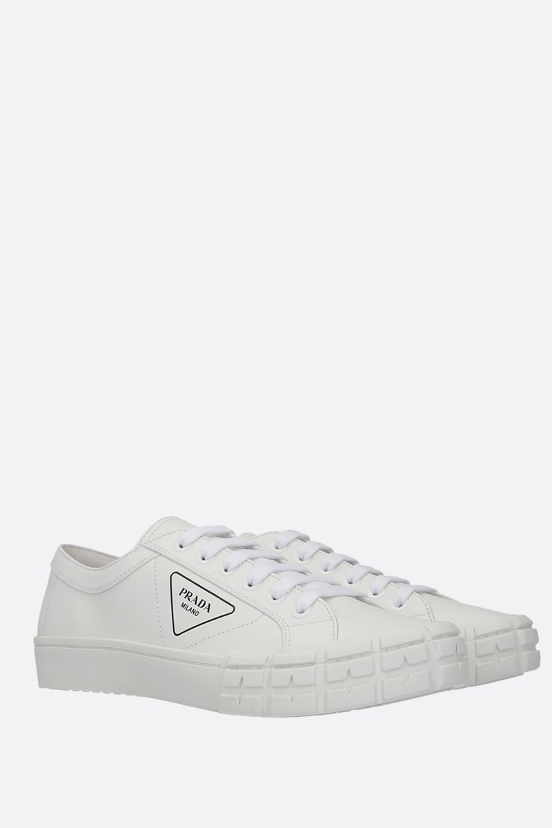 PRADA: smooth leather low-top sneakers Color White_2