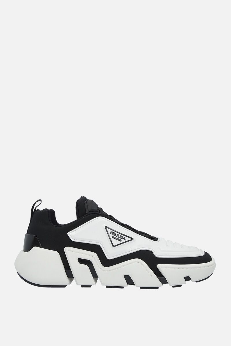 PRADA: Segment techno stretch fabric and rubber sneakers Color Black_1