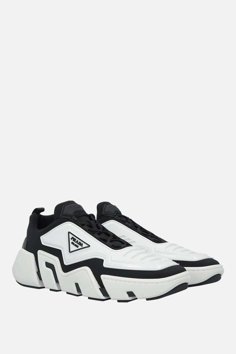 PRADA: Segment techno stretch fabric and rubber sneakers Color Black_2