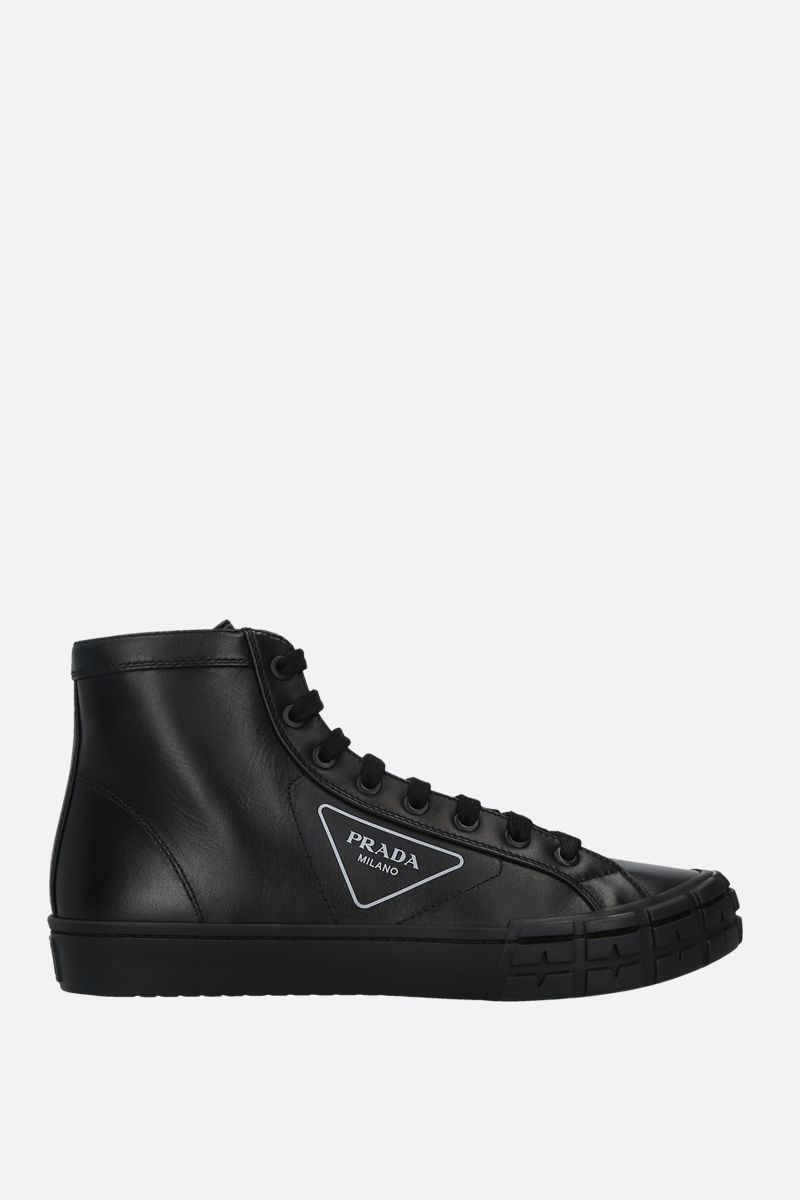PRADA: sneaker high-top Wheel in pelle liscia Colore Nero_1