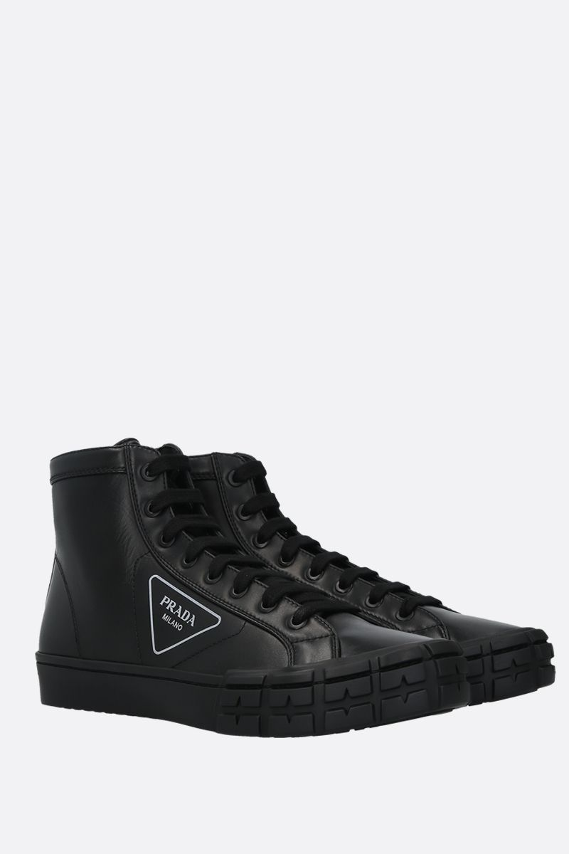 PRADA: sneaker high-top Wheel in pelle liscia Colore Nero_2