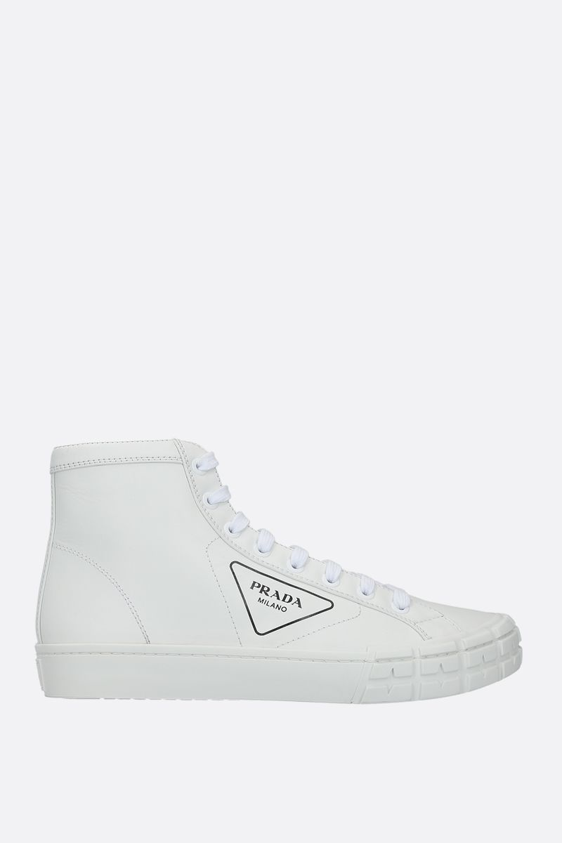 PRADA: Wheel smooth leather high-top sneakers Color White_1