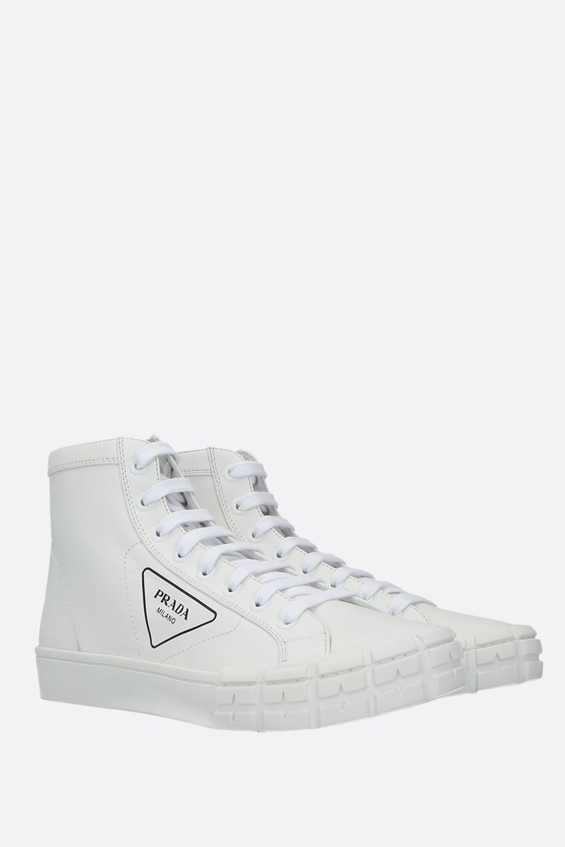 PRADA: Wheel smooth leather high-top sneakers Color White_2