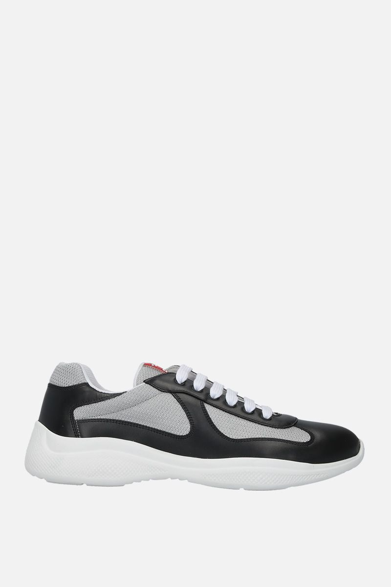 PRADA: smooth leather and mesh low-top sneakers Color Black_1