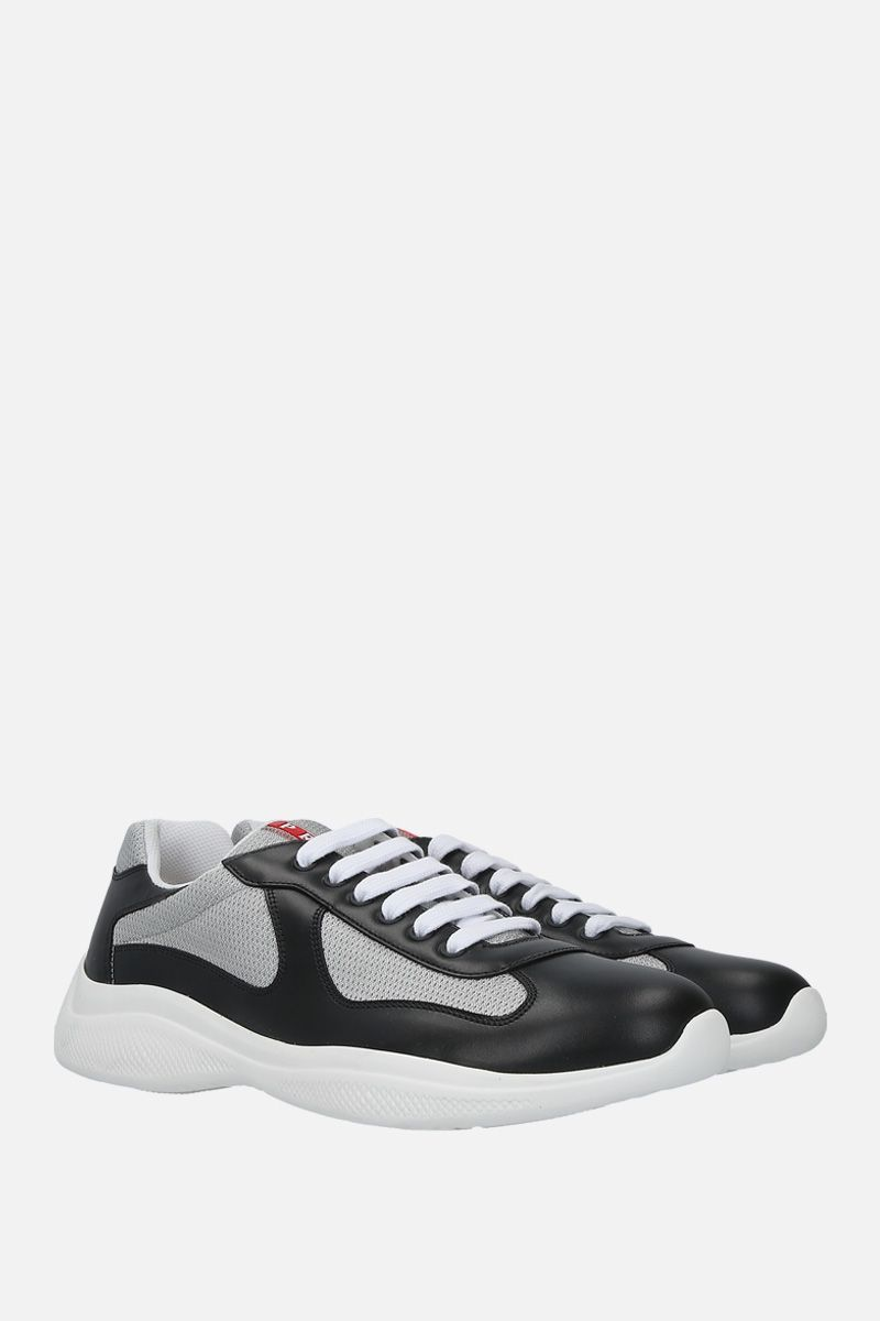 PRADA: smooth leather and mesh low-top sneakers Color Black_2