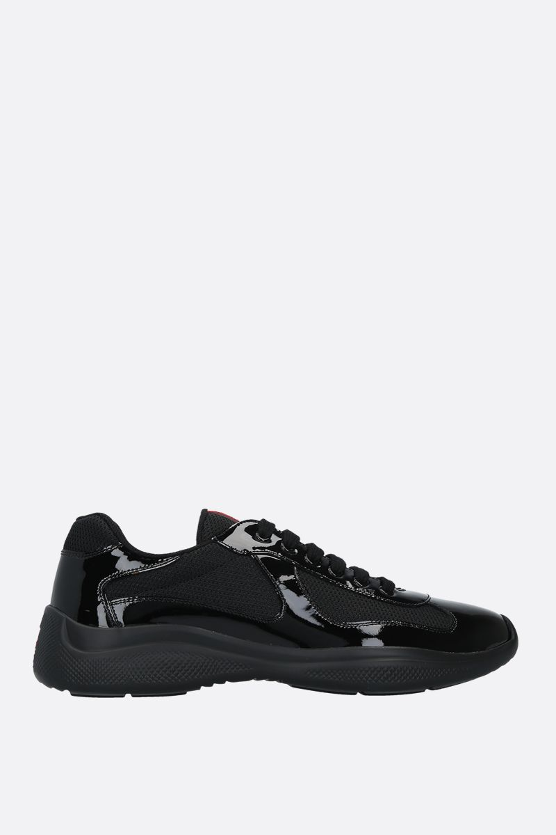 PRADA: patent leather and mesh low-top sneakers Color Black_1