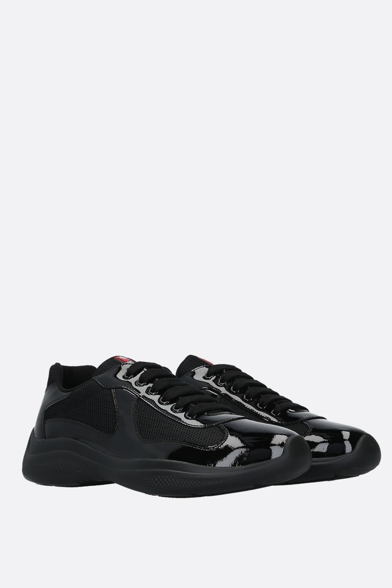 PRADA: patent leather and mesh low-top sneakers Color Black_2