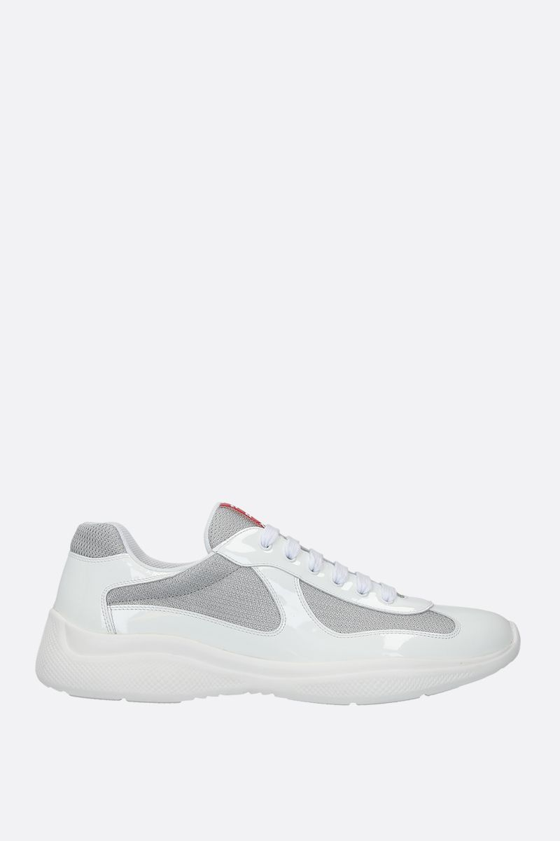 PRADA: patent leather and mesh low-top sneakers Color White_1