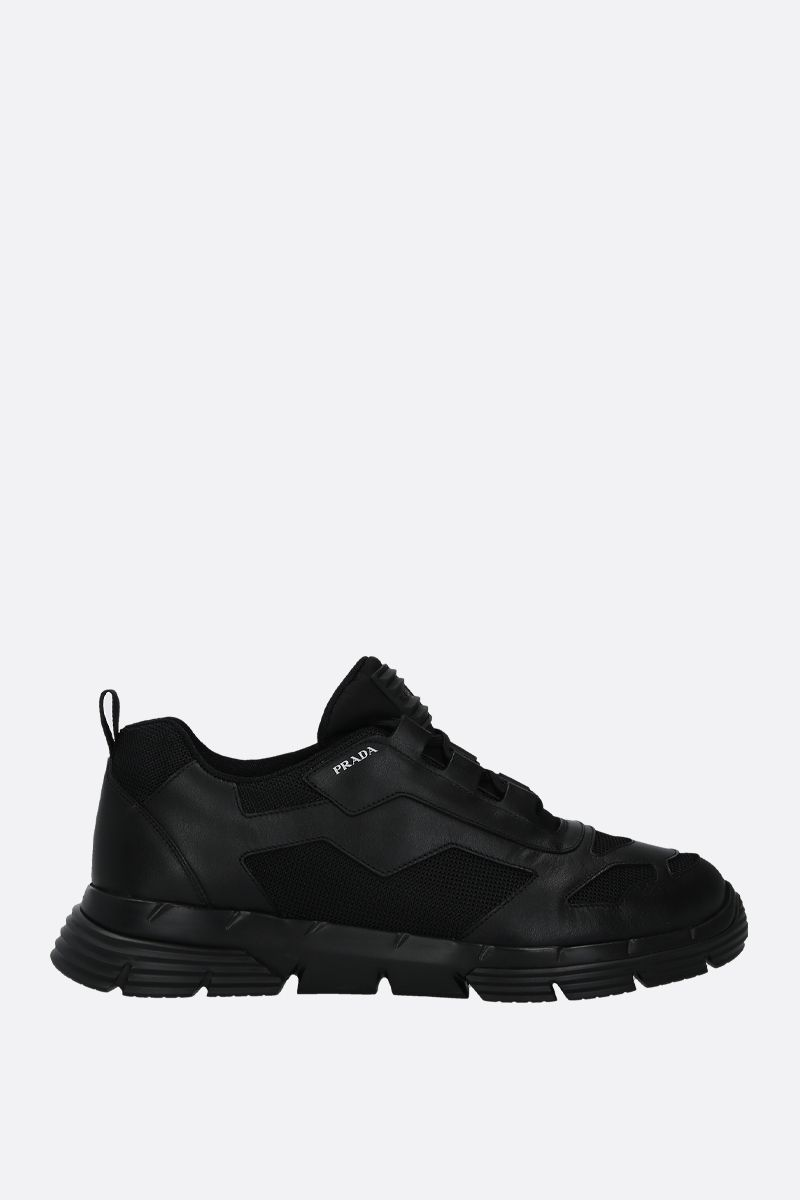 PRADA: Twist sneakers in Nevada leather and mesh Color Black_1