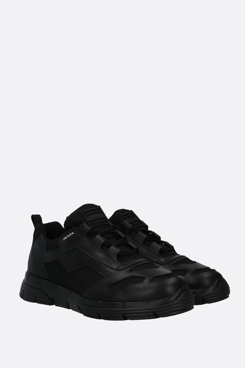 PRADA: Twist sneakers in Nevada leather and mesh Color Black_2