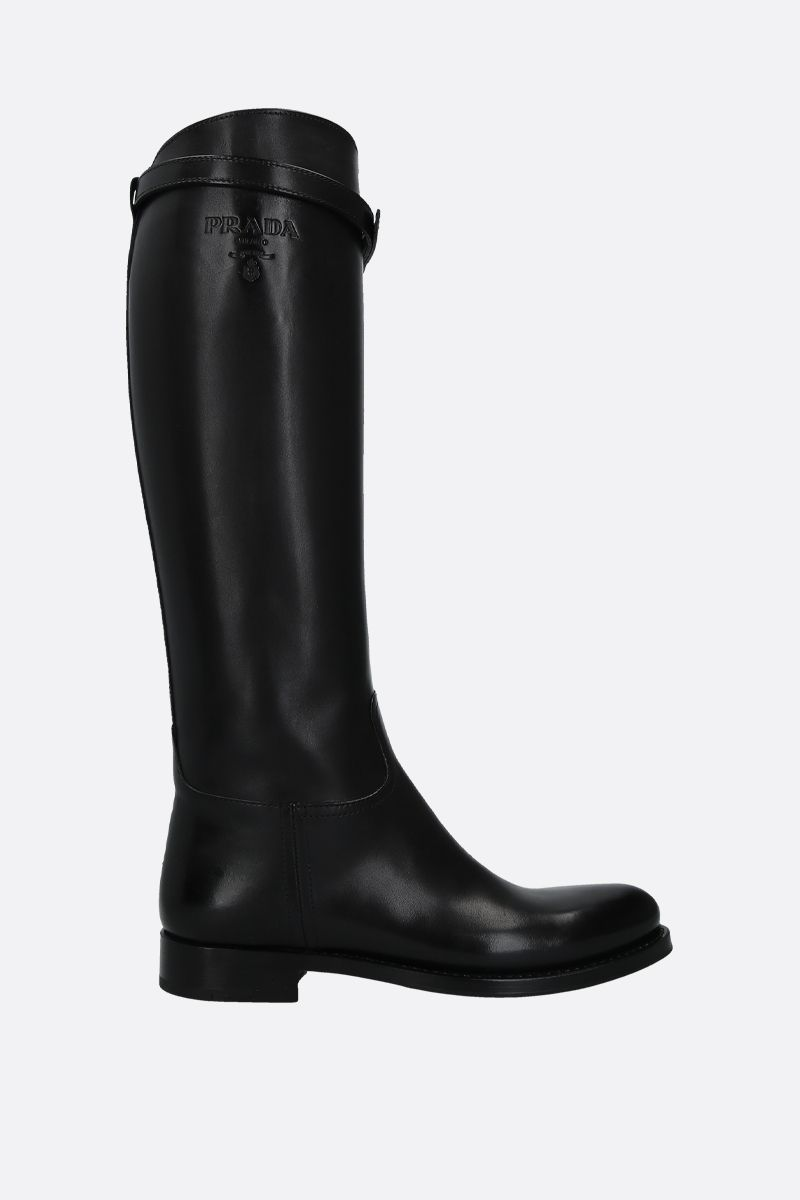 PRADA: logo-embossed smooth leather boots Color Black_1