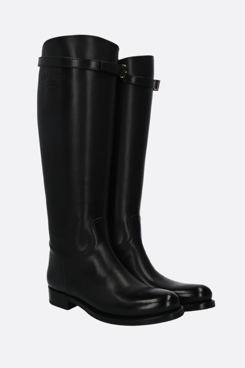 PRADA: logo-embossed smooth leather boots Color Black_2