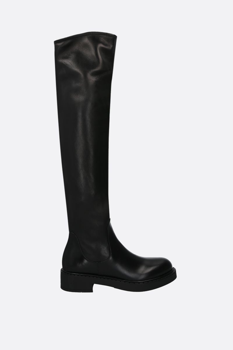 PRADA: brushed calf and stretch nappa over-the-knee boots Color Black_1