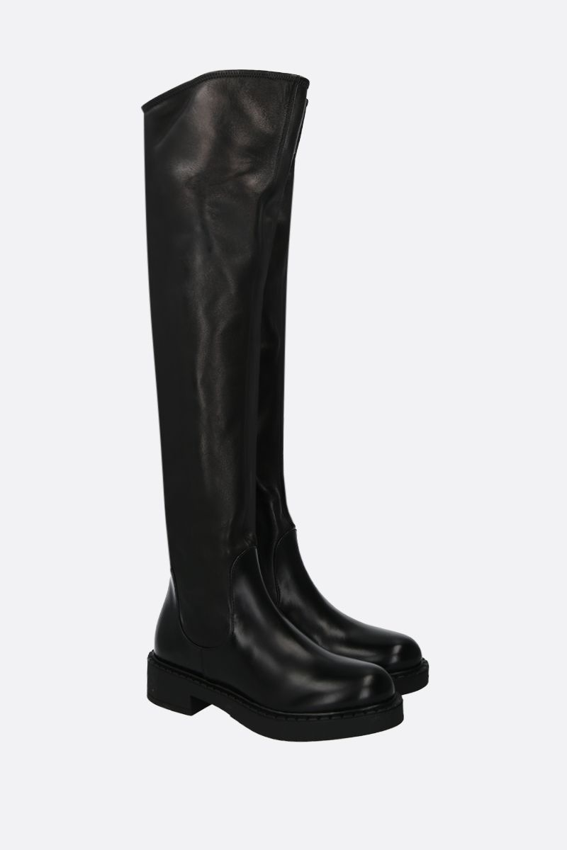 PRADA: brushed calf and stretch nappa over-the-knee boots Color Black_2