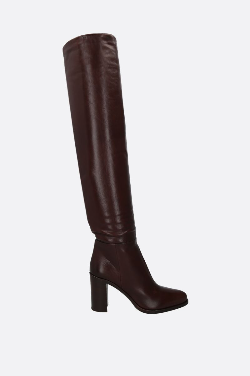 PRADA: Panosh leather over-the-knee boots Color Brown_1