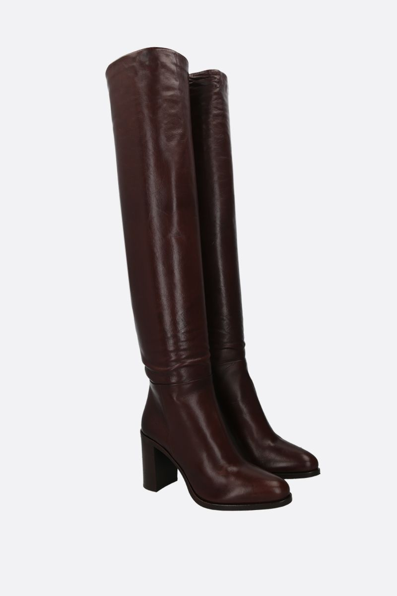 PRADA: Panosh leather over-the-knee boots Color Brown_2