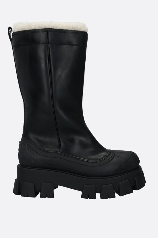 PRADA: Monolith smooth leather and rubber boots Color Black_1