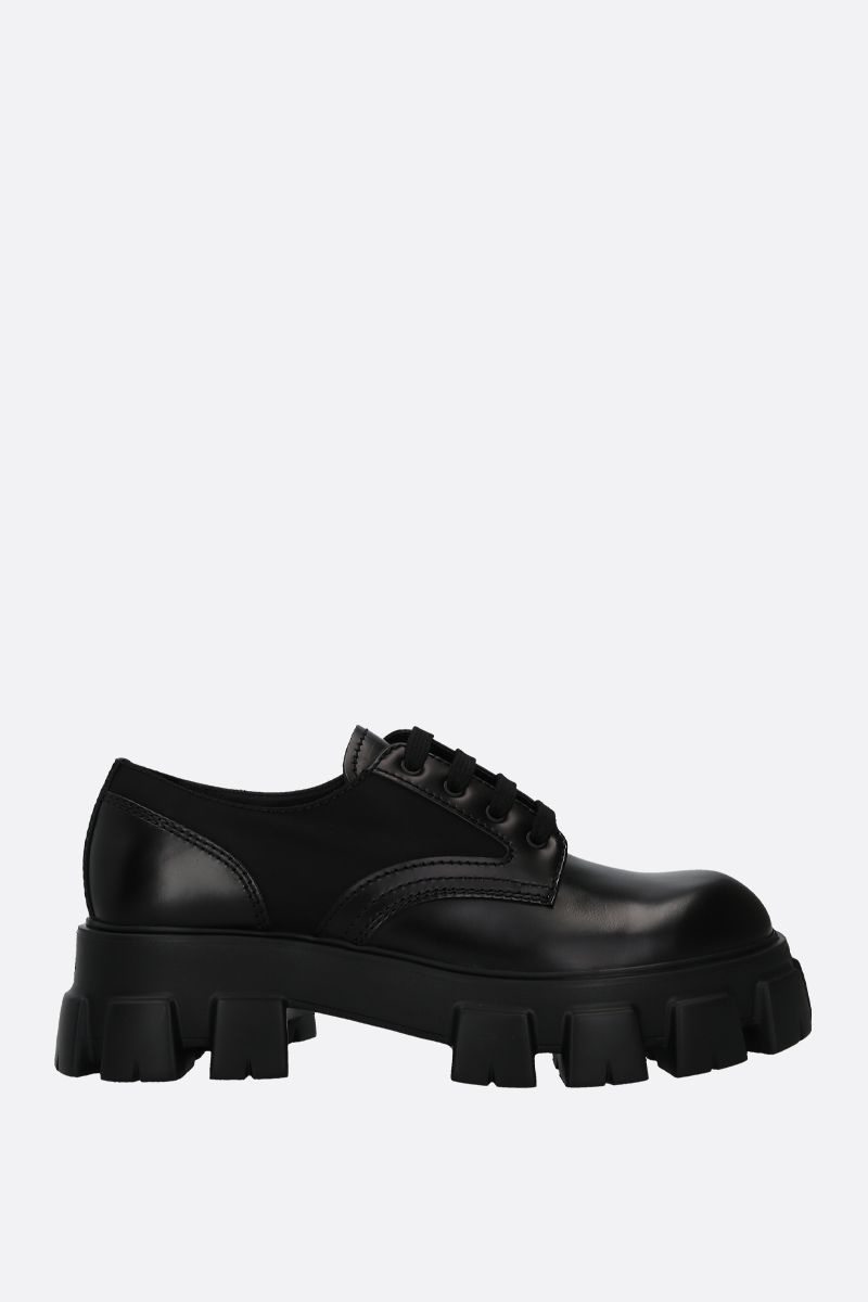 PRADA: rois brushed leather and nylon derby shoes Color Black_1