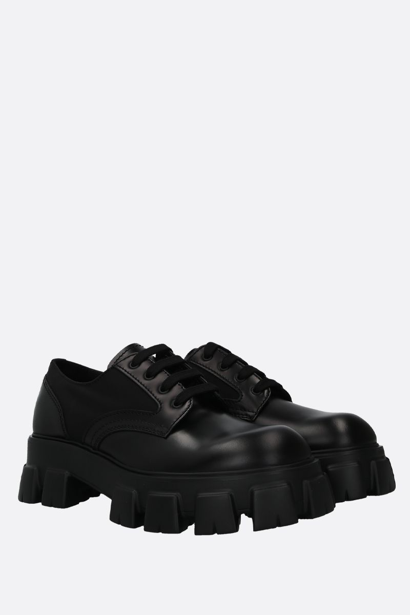 PRADA: rois brushed leather and nylon derby shoes Color Black_2