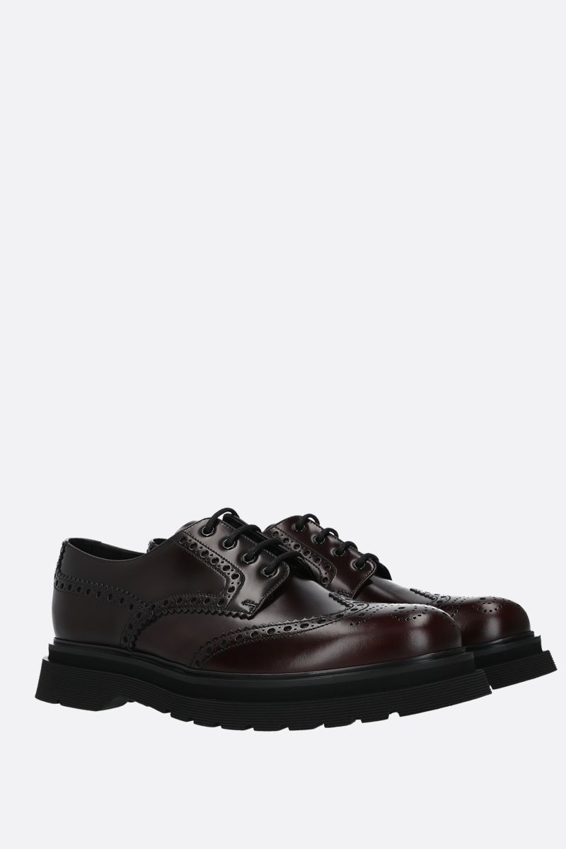PRADA: Rois brushed leather oxford shoes Color Brown_2
