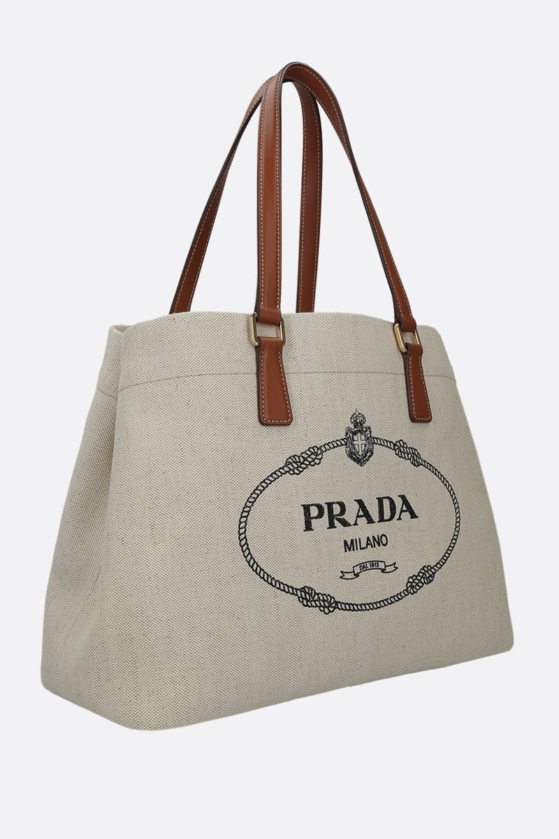 PRADA: borsa shopping in canvas e pelle liscia_2