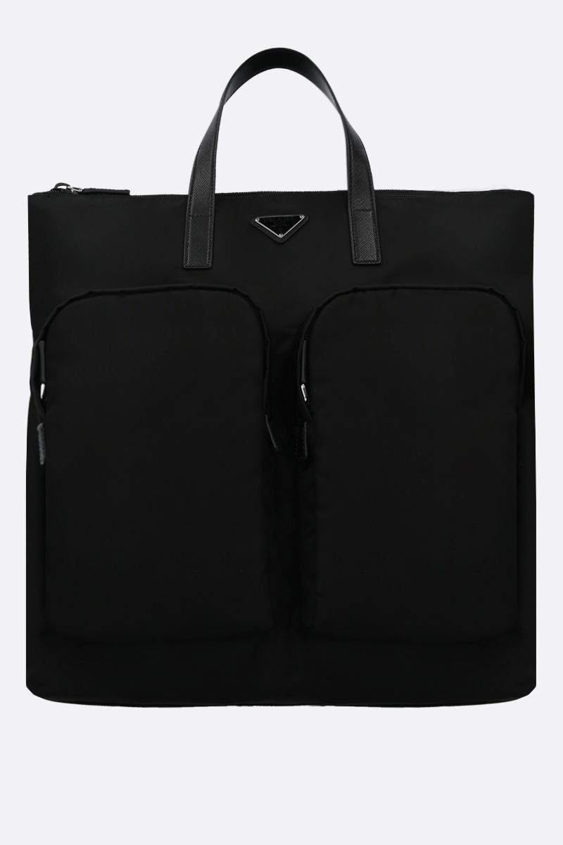 PRADA: nylon shopping backpack Color Black_1
