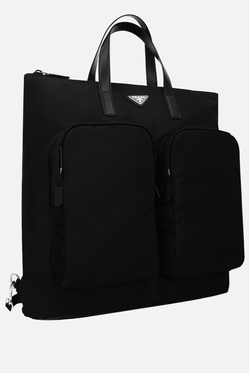 PRADA: nylon shopping backpack Color Black_2