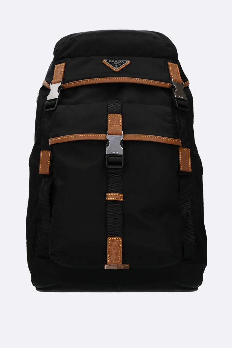 PRADA: Saffiano leather-detailed nylon backpack_1