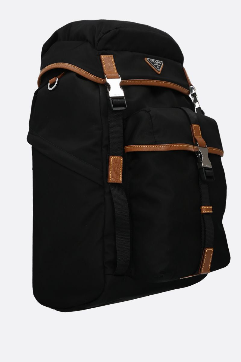 PRADA: Saffiano leather-detailed nylon backpack_2