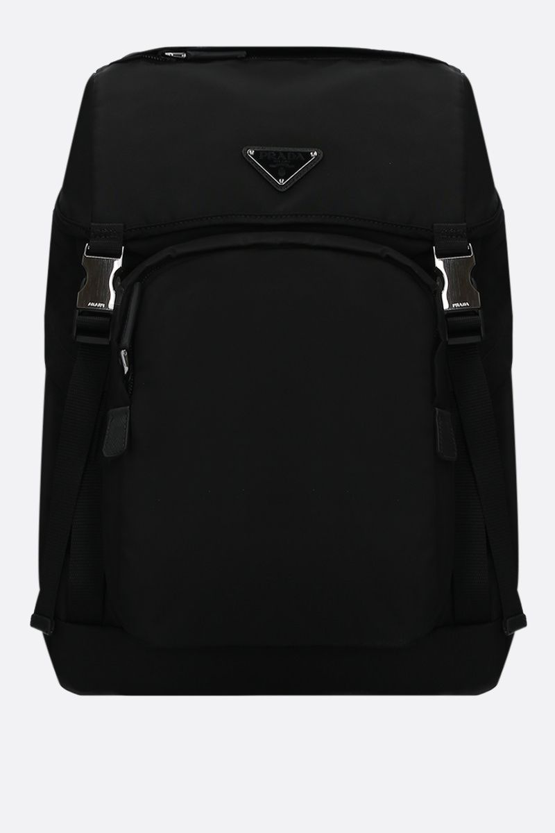 PRADA: Saffiano-detailed nylon backpack Color Black_1