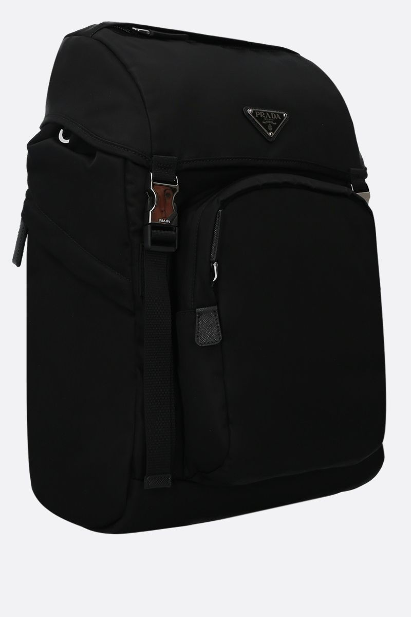 PRADA: Saffiano-detailed nylon backpack Color Black_2