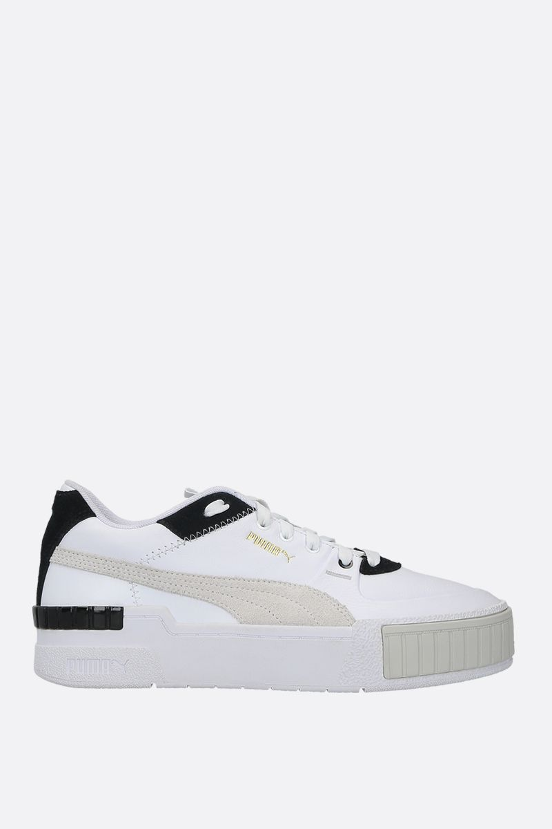 PUMA: Cali Sport Mix smooth leather and suede sneakers Color White_1