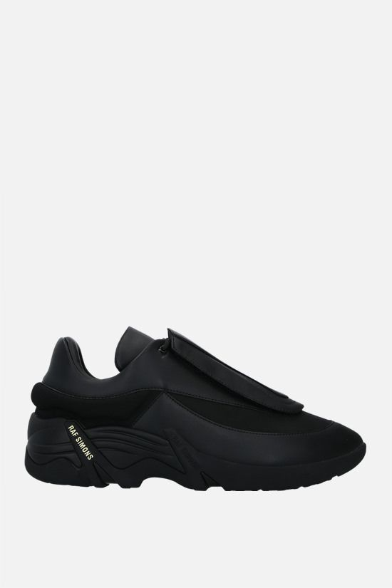 RAF SIMONS: Antei smooth leather and nylon sneakers Color Black_1