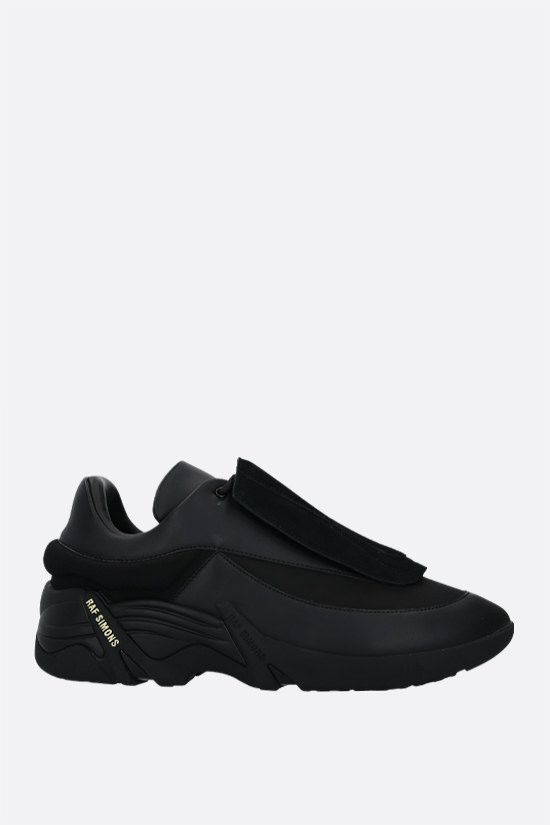 RAF SIMONS: Antei smooth leather and nylon sneakers Color Black_2