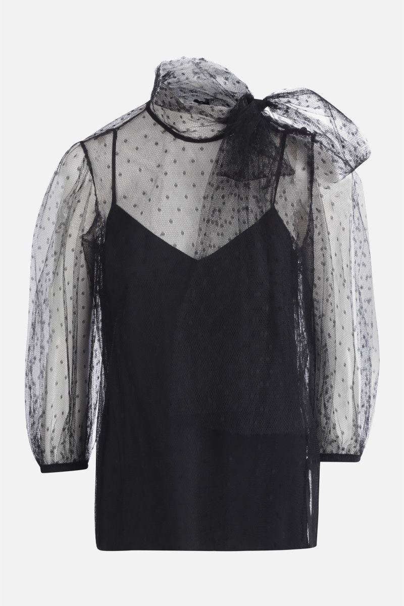 RED VALENTINO: point d'esprit tulle blouse Color Black_1