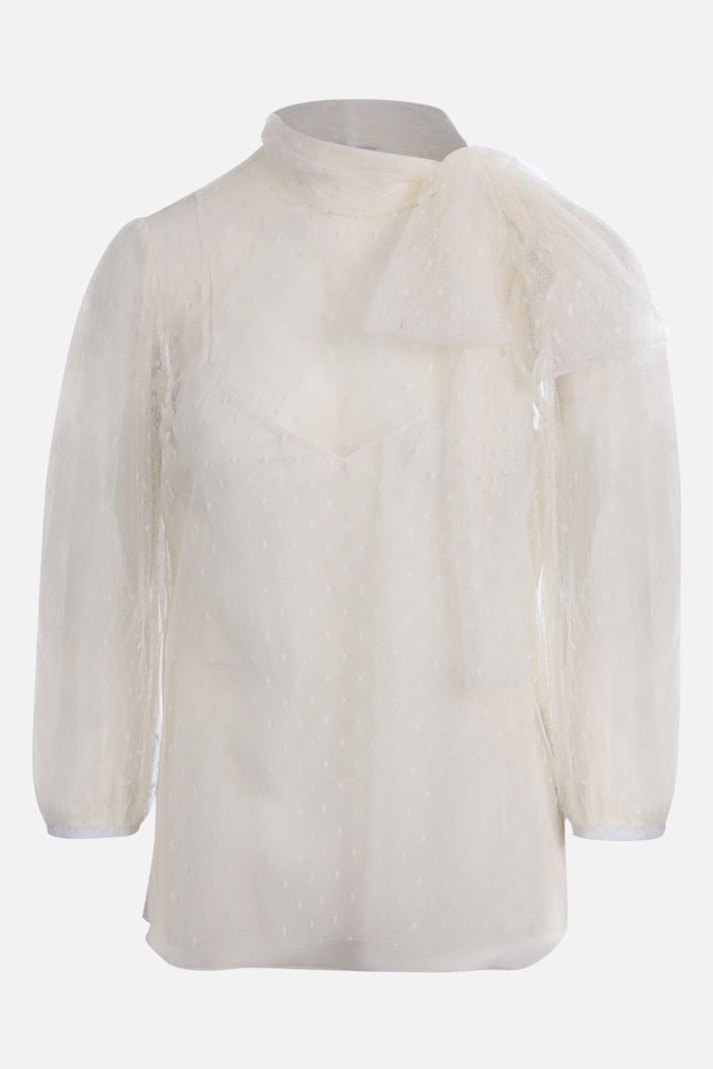 RED VALENTINO: point d'esprit tulle blouse Color White_1